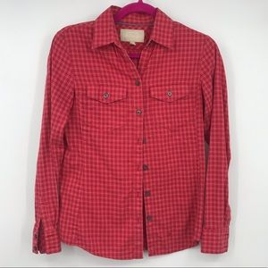 Banana Republic Soft Wash Shirt Red Plaid XSP